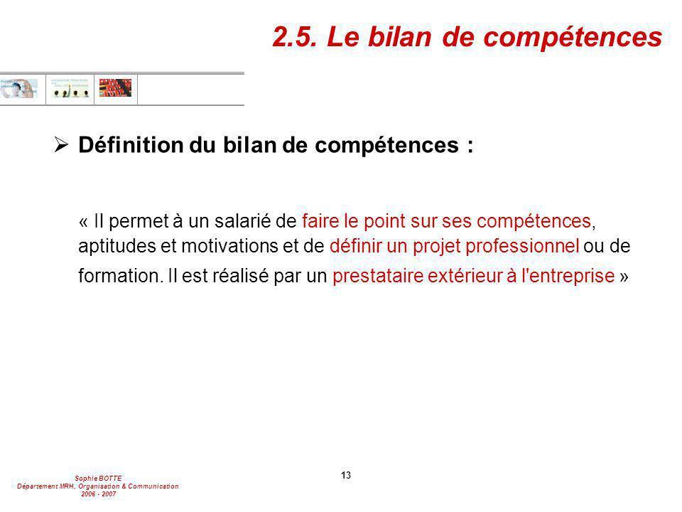Sophie BOTTE Département MRH, Organisation & Communication 2006 - 2007 13 2.5. Le bilan de compétences  Définition du bilan de compétences : « Il per