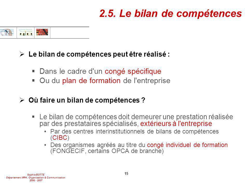 Sophie BOTTE Département MRH, Organisation & Communication 2006 - 2007 15 2.5. Le bilan de compétences  Le bilan de compétences peut être réalisé : 