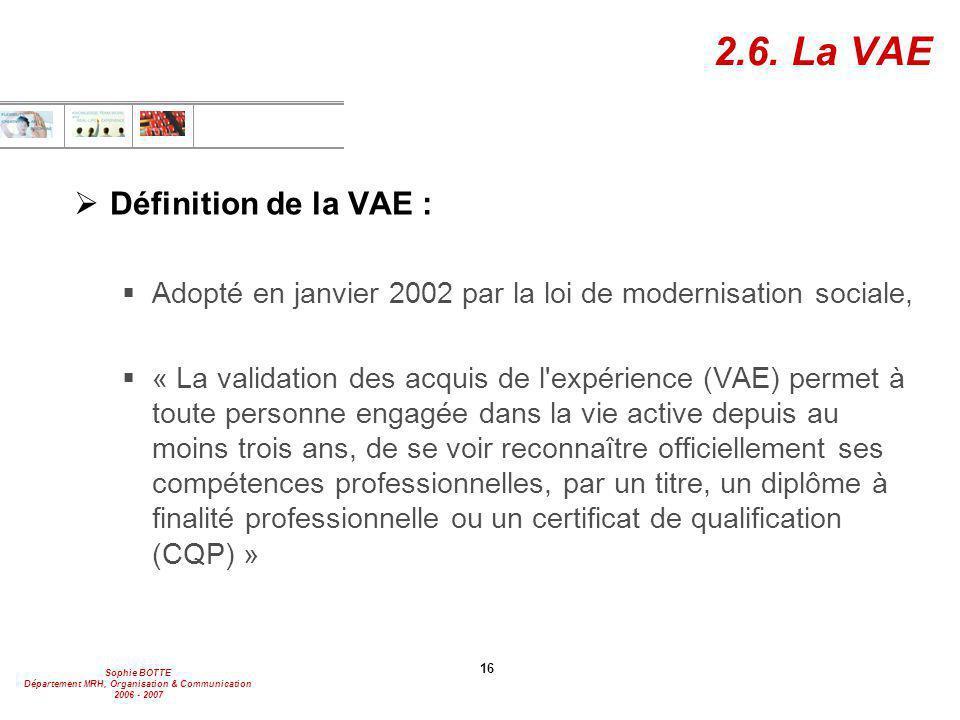 Sophie BOTTE Département MRH, Organisation & Communication 2006 - 2007 16 2.6. La VAE  Définition de la VAE :  Adopté en janvier 2002 par la loi de