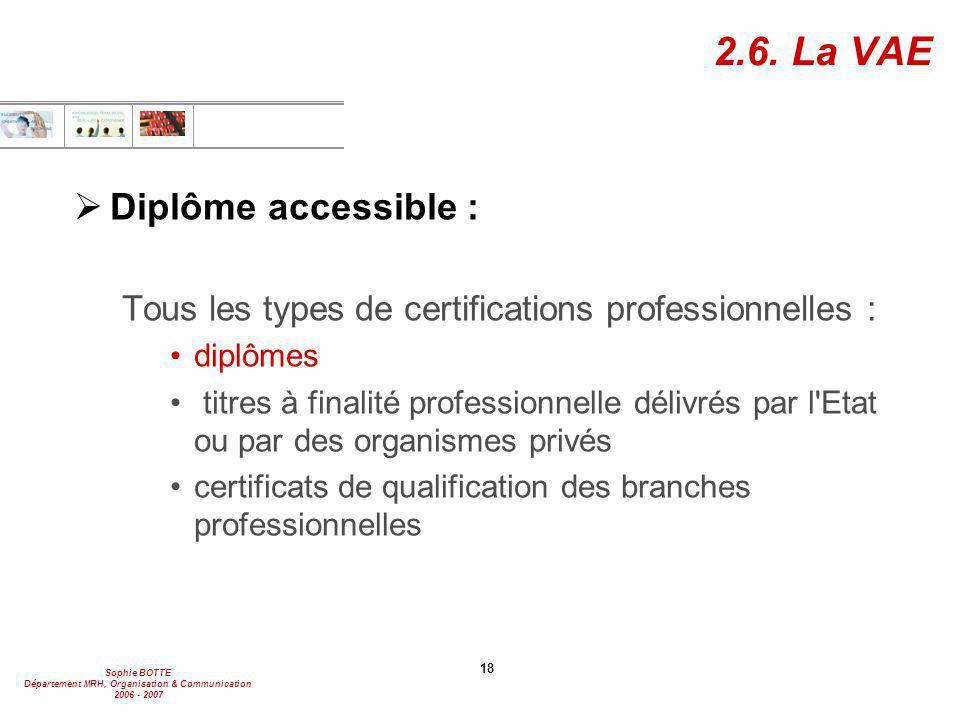 Sophie BOTTE Département MRH, Organisation & Communication 2006 - 2007 18 2.6. La VAE  Diplôme accessible : Tous les types de certifications professi