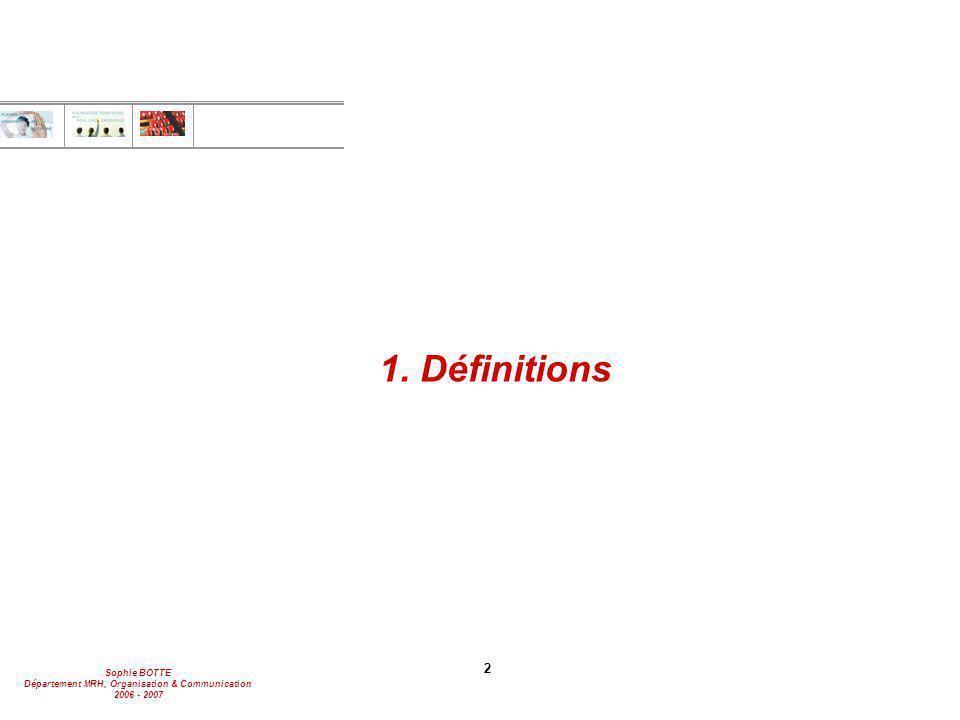 Sophie BOTTE Département MRH, Organisation & Communication 2006 - 2007 3 1.