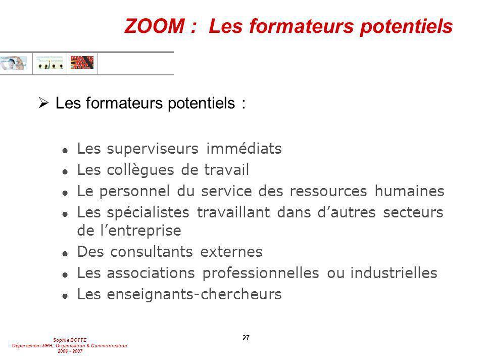 Sophie BOTTE Département MRH, Organisation & Communication 2006 - 2007 27 ZOOM : Les formateurs potentiels  Les formateurs potentiels : l Les supervi