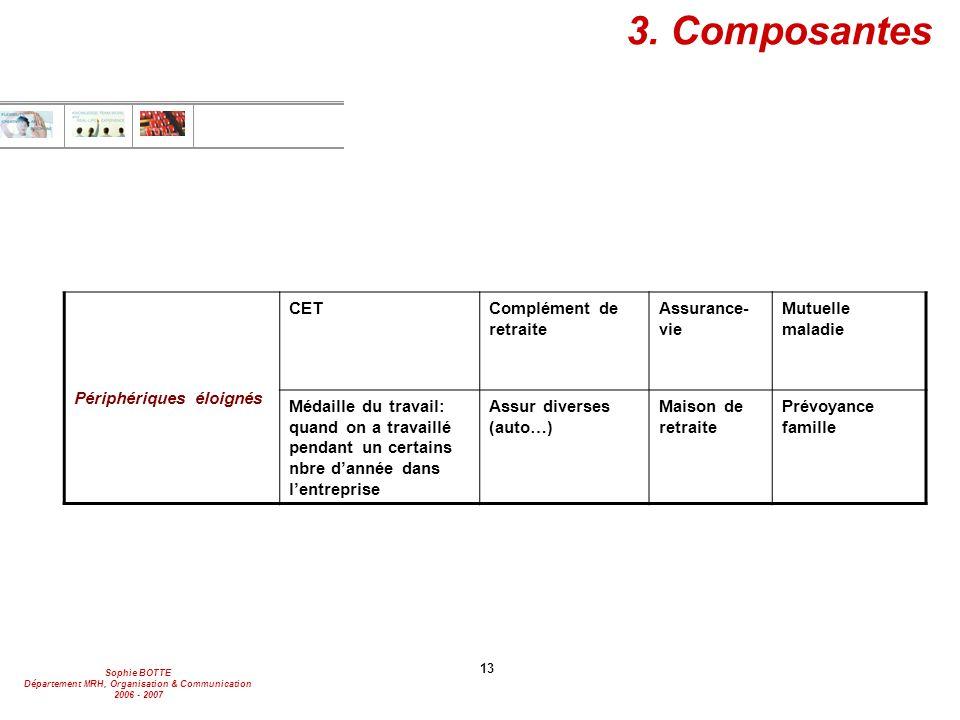 Sophie BOTTE Département MRH, Organisation & Communication 2006 - 2007 13 3. Composantes Périphériques éloignés CETComplément de retraite Assurance- v