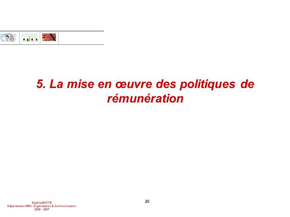 Sophie BOTTE Département MRH, Organisation & Communication 2006 - 2007 20 5. La mise en œuvre des politiques de rémunération