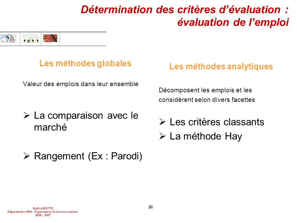 Sophie BOTTE Département MRH, Organisation & Communication 2006 - 2007 26 Détermination des critères d'évaluation : évaluation de l'emploi Les méthode