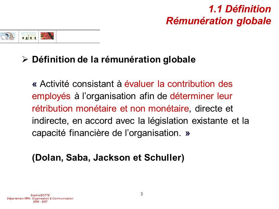 Sophie BOTTE Département MRH, Organisation & Communication 2006 - 2007 3 1.1 Définition Rémunération globale  Définition de la rémunération globale «