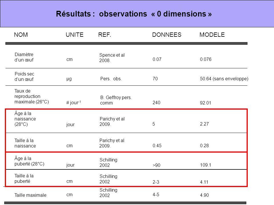 Résultats : observations « 0 dimensions » Diamètre d'un œuf Poids sec d'un œuf Taux de reproduction maximale (26°C) Âge à la naissance (28°C) Taille à