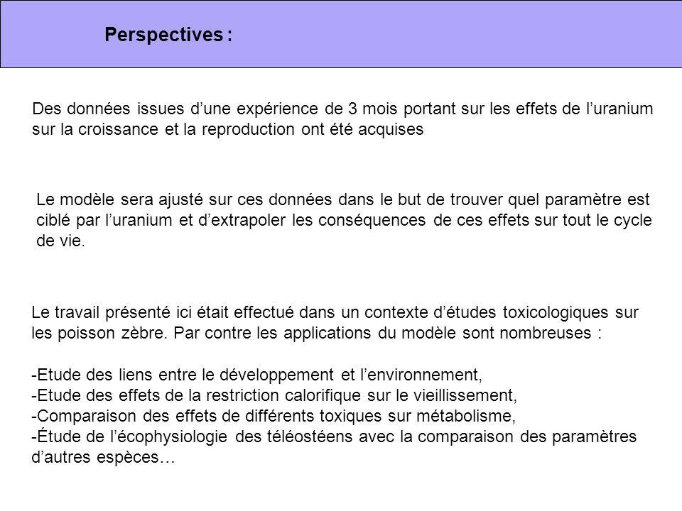 Perspectives : Des données issues d'une expérience de 3 mois portant sur les effets de l'uranium sur la croissance et la reproduction ont été acquises