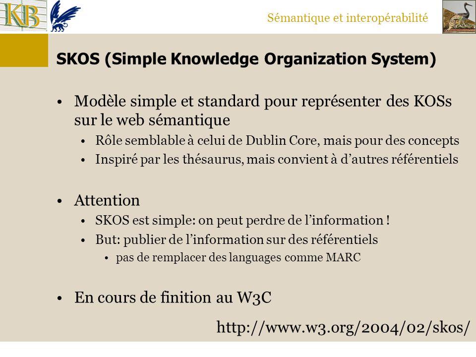 Sémantique et interopérabilité SKOS (Simple Knowledge Organization System) Modèle simple et standard pour représenter des KOSs sur le web sémantique R