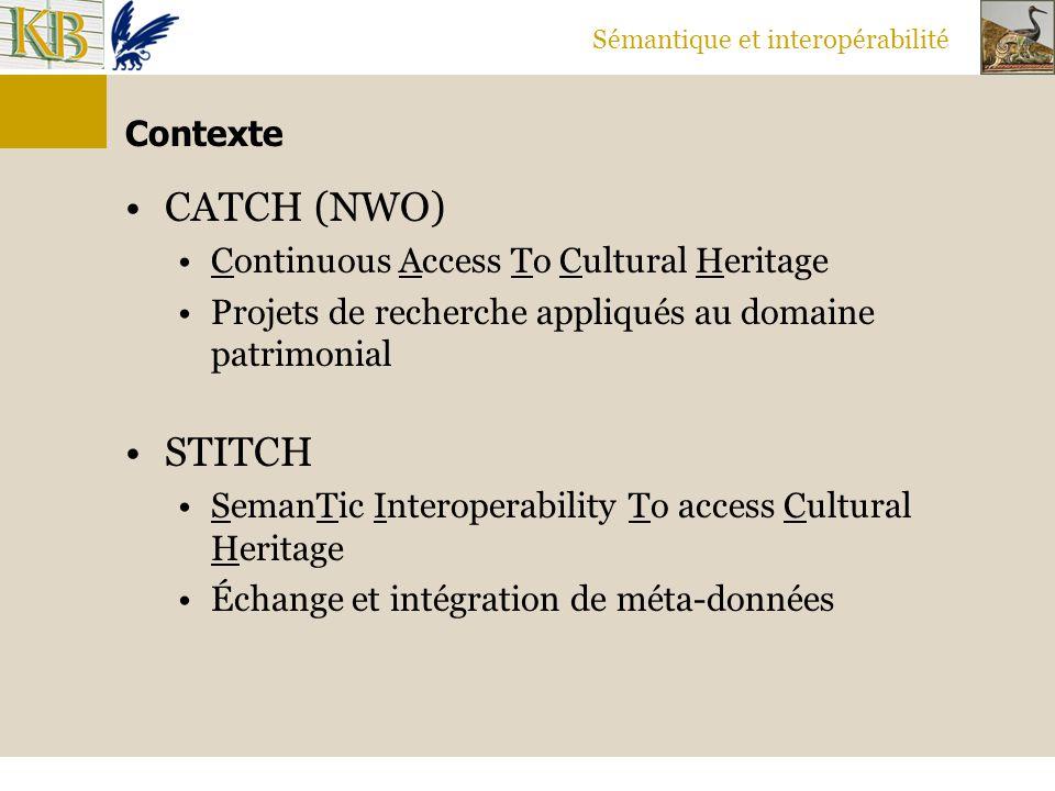 Sémantique et interopérabilité Contexte CATCH (NWO) Continuous Access To Cultural Heritage Projets de recherche appliqués au domaine patrimonial STITC