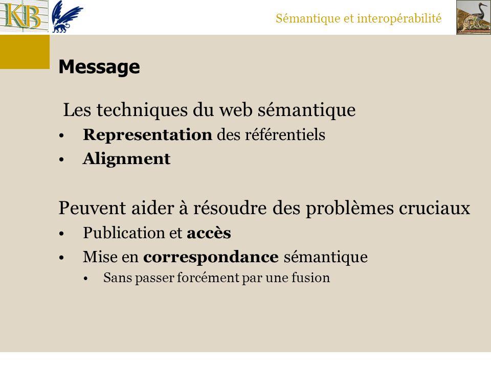 Sémantique et interopérabilité Message Les techniques du web sémantique Representation des référentiels Alignment Peuvent aider à résoudre des problèm