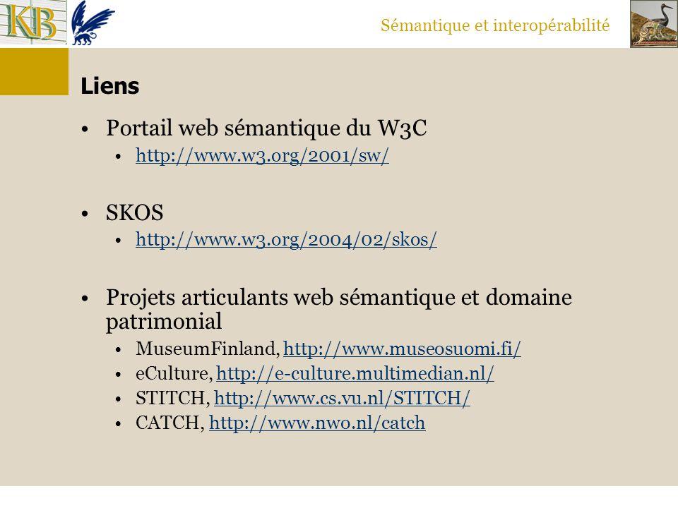Sémantique et interopérabilité Liens Portail web sémantique du W3C http://www.w3.org/2001/sw/ SKOS http://www.w3.org/2004/02/skos/ Projets articulants