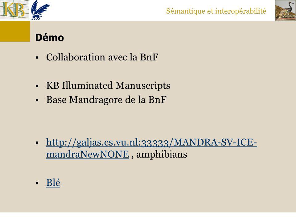 Sémantique et interopérabilité Démo Collaboration avec la BnF KB Illuminated Manuscripts Base Mandragore de la BnF http://galjas.cs.vu.nl:33333/MANDRA