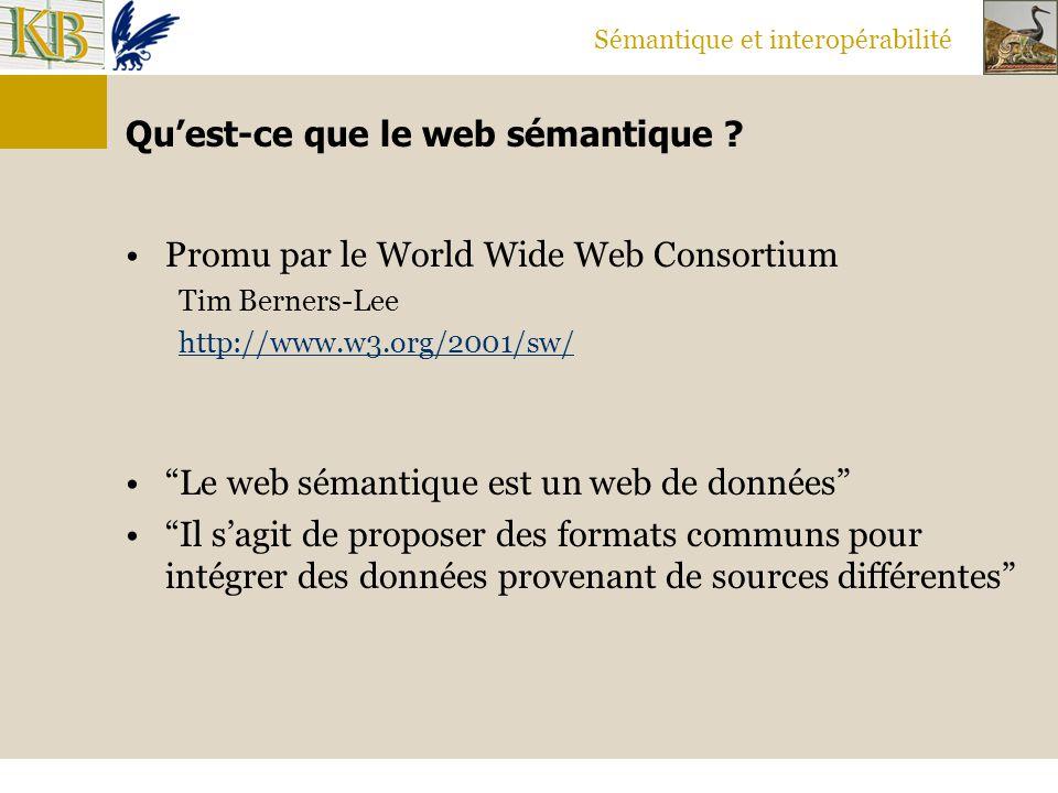 """Sémantique et interopérabilité Qu'est-ce que le web sémantique ? Promu par le World Wide Web Consortium Tim Berners-Lee http://www.w3.org/2001/sw/ """"Le"""