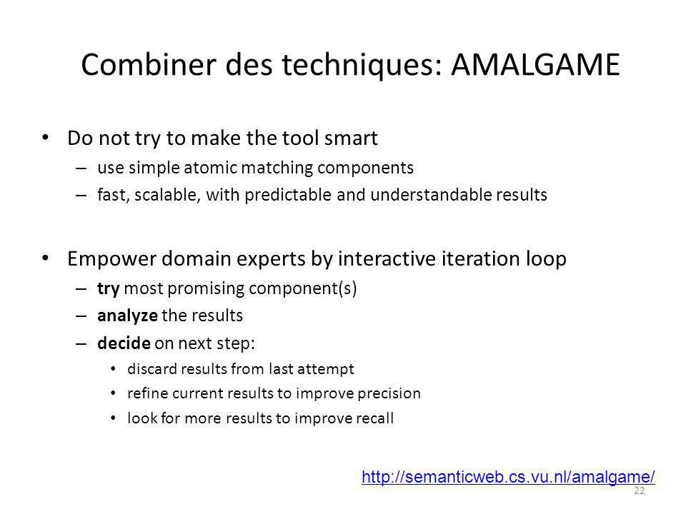 Combiner des techniques: AMALGAME Do not try to make the tool smart – use simple atomic matching components – fast, scalable, with predictable and und