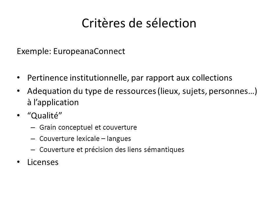 Critères de sélection Exemple: EuropeanaConnect Pertinence institutionnelle, par rapport aux collections Adequation du type de ressources (lieux, sujets, personnes…) à l'application Qualité – Grain conceptuel et couverture – Couverture lexicale – langues – Couverture et précision des liens sémantiques Licenses