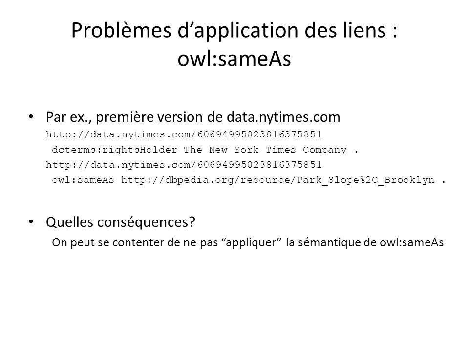 Problèmes d'application des liens : owl:sameAs Par ex., première version de data.nytimes.com http://data.nytimes.com/60694995023816375851 dcterms:rightsHolder The New York Times Company.