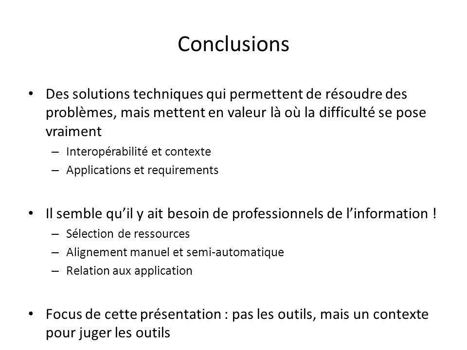Conclusions Des solutions techniques qui permettent de résoudre des problèmes, mais mettent en valeur là où la difficulté se pose vraiment – Interopérabilité et contexte – Applications et requirements Il semble qu'il y ait besoin de professionnels de l'information .