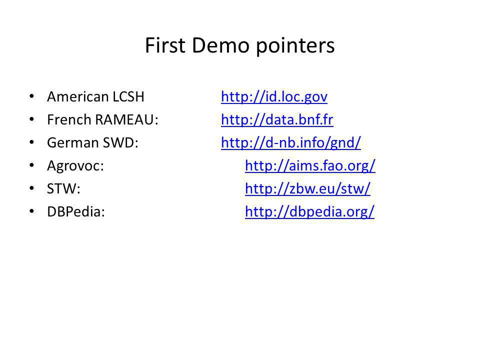 First Demo pointers American LCSH http://id.loc.govhttp://id.loc.gov French RAMEAU: http://data.bnf.frhttp://data.bnf.fr German SWD: http://d-nb.info/gnd/http://d-nb.info/gnd/ Agrovoc: http://aims.fao.org/http://aims.fao.org/ STW: http://zbw.eu/stw/http://zbw.eu/stw/ DBPedia: http://dbpedia.org/http://dbpedia.org/