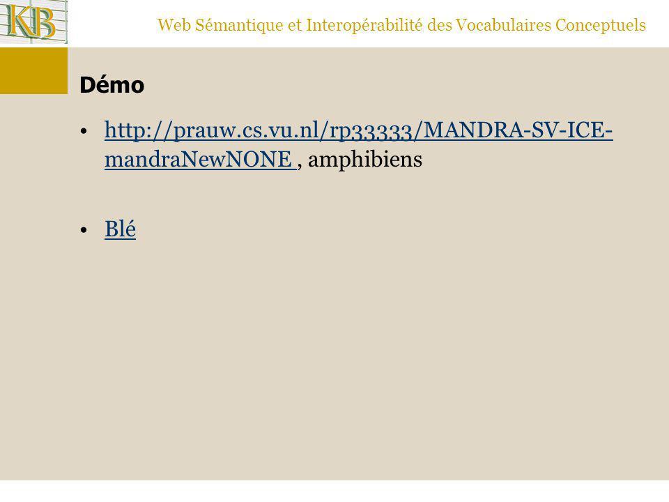 Web Sémantique et Interopérabilité des Vocabulaires Conceptuels Démo http://prauw.cs.vu.nl/rp33333/MANDRA-SV-ICE- mandraNewNONE, amphibienshttp://prau