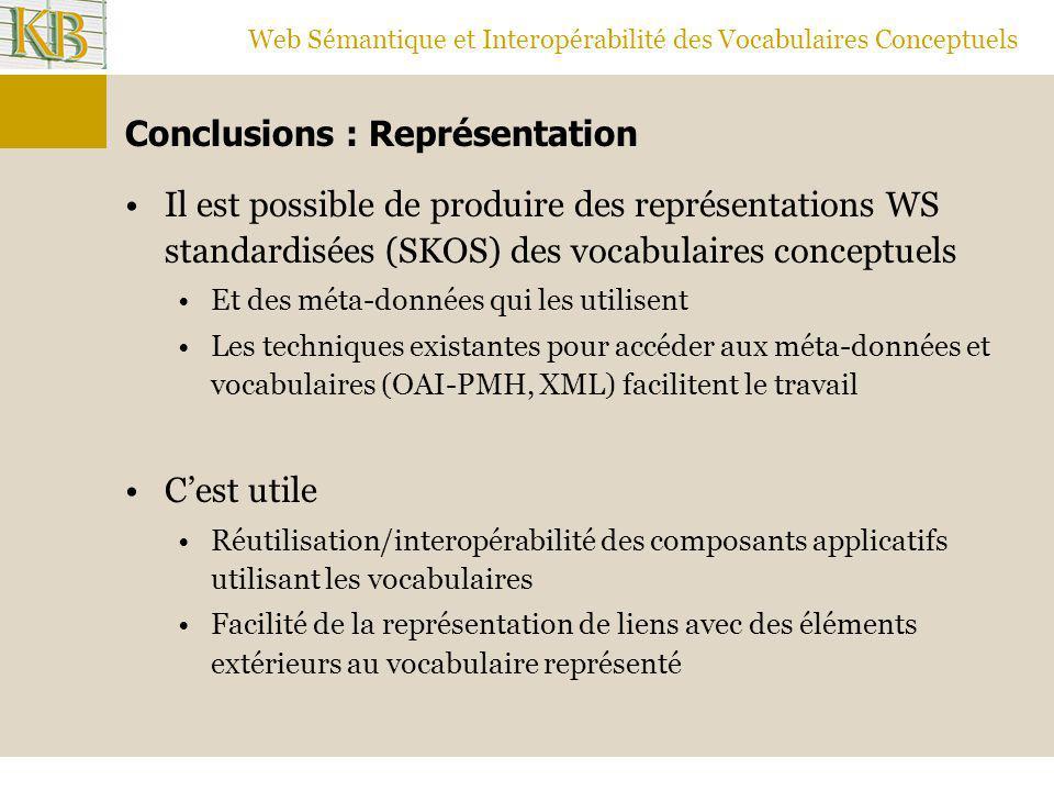 Web Sémantique et Interopérabilité des Vocabulaires Conceptuels Conclusions : Représentation Il est possible de produire des représentations WS standa