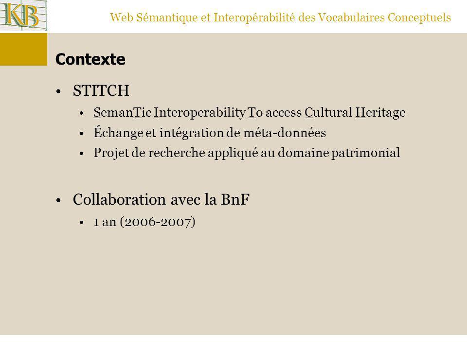 Web Sémantique et Interopérabilité des Vocabulaires Conceptuels Contexte STITCH SemanTic Interoperability To access Cultural Heritage Échange et intég