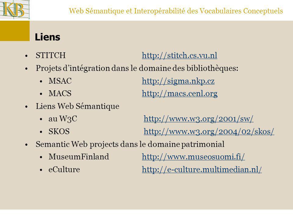 Web Sémantique et Interopérabilité des Vocabulaires Conceptuels Liens STITCHhttp://stitch.cs.vu.nlhttp://stitch.cs.vu.nl Projets d'intégration dans le