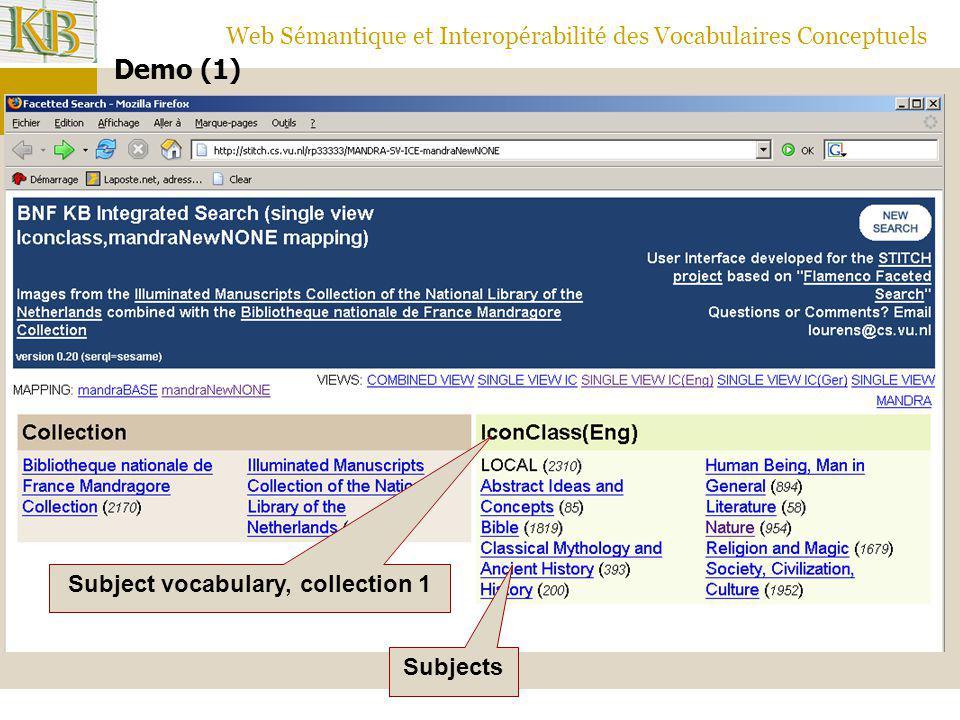 Web Sémantique et Interopérabilité des Vocabulaires Conceptuels Demo (1) Subject vocabulary, collection 1 Subjects