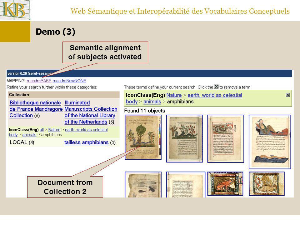Web Sémantique et Interopérabilité des Vocabulaires Conceptuels Document from Collection 2 Semantic alignment of subjects activated Demo (3)