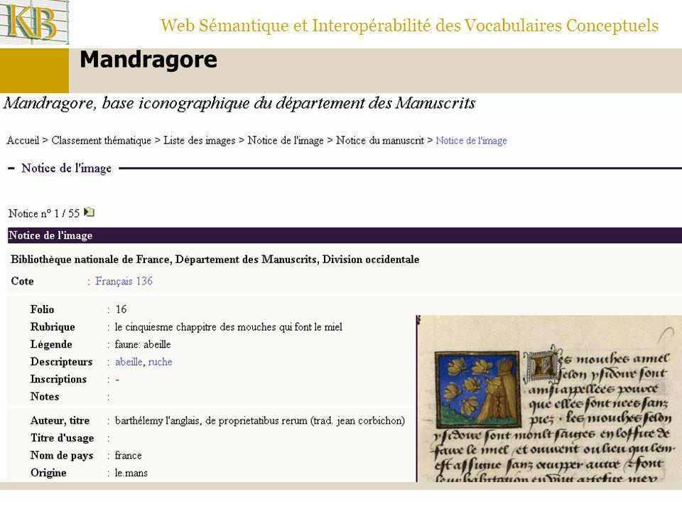 Web Sémantique et Interopérabilité des Vocabulaires Conceptuels Mandragore