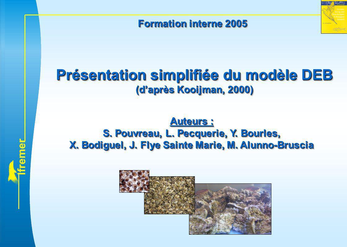 l f r e m e r Présentation simplifiée du modèle DEB (d'après Kooijman, 2000) Présentation simplifiée du modèle DEB (d'après Kooijman, 2000) Auteurs :