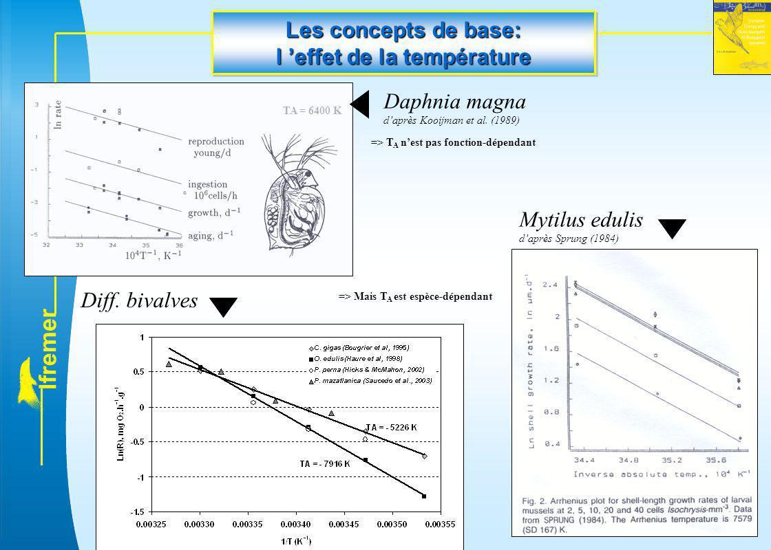 l f r e m e r Diff. bivalves Daphnia magna d'après Kooijman et al. (1989) TA = 6400 K => T A n'est pas fonction-dépendant => Mais T A est espèce-dépen