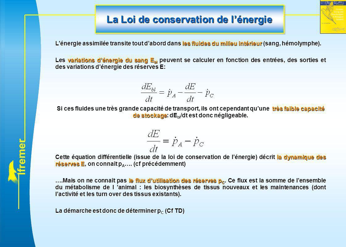 l f r e m e r La Loi de conservation de l'énergie L'énergie assimilée transite tout d'abord dans les fluides du milieu intérieur (sang, hémolymphe). L