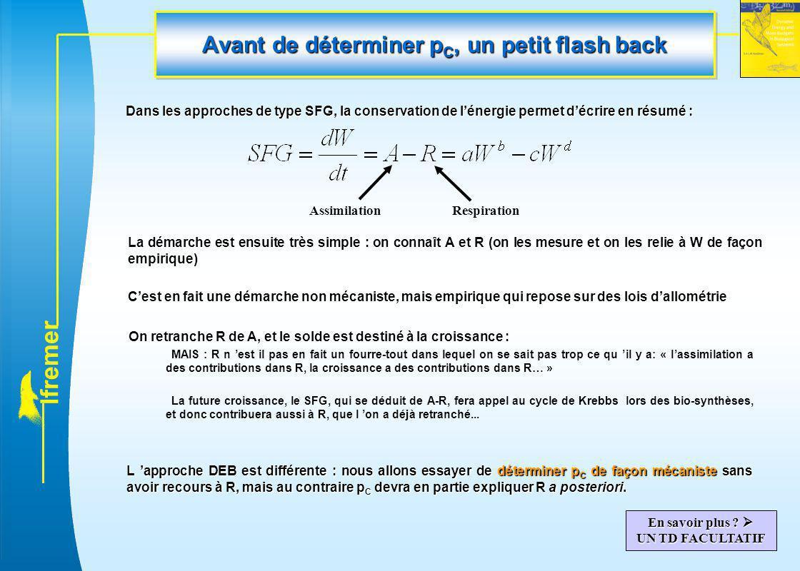 l f r e m e r Avant de déterminer p C, un petit flash back Dans les approches de type SFG, la conservation de l'énergie permet d'écrire en résumé : As