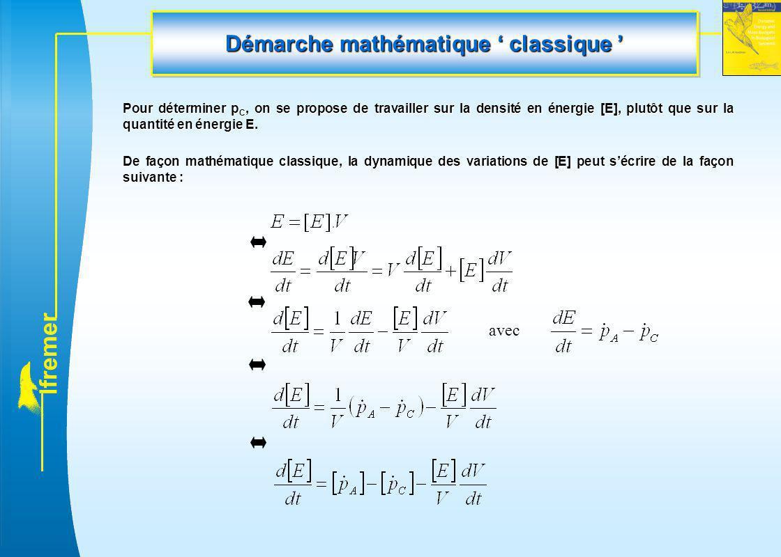 l f r e m e r Démarche mathématique ' classique ' Pour déterminer p C, on se propose de travailler sur la densité en énergie [E], plutôt que sur la qu