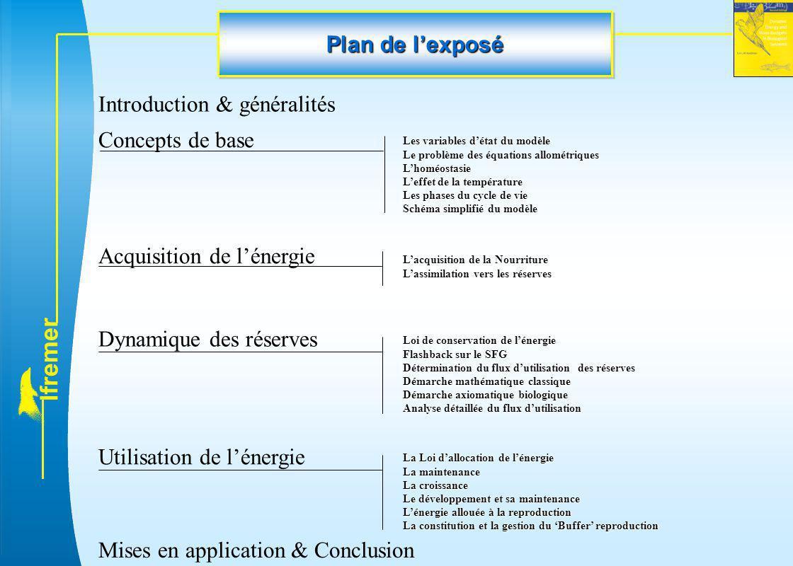 l f r e m e r Plan de l'exposé Introduction & généralités Concepts de base Les variables d'état du modèle Le problème des équations allométriques L'ho