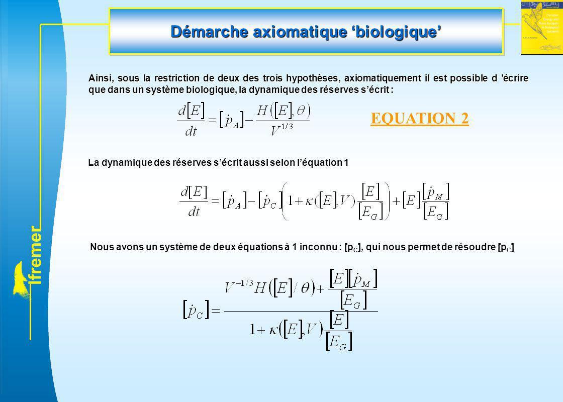 l f r e m e r Démarche axiomatique 'biologique' Ainsi, sous la restriction de deux des trois hypothèses, axiomatiquement il est possible d 'écrire que