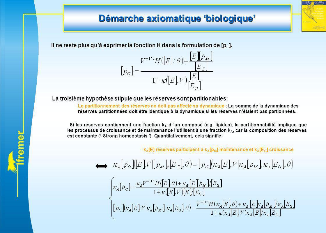 l f r e m e r Démarche axiomatique 'biologique' Il ne reste plus qu'à exprimer la fonction H dans la formulation de [p C ]. La troisième hypothèse sti