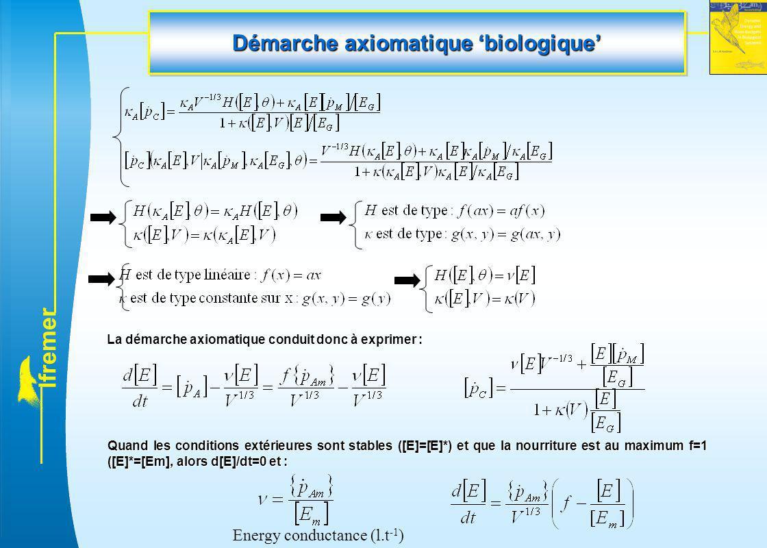 l f r e m e r Démarche axiomatique 'biologique' La démarche axiomatique conduit donc à exprimer : Quand les conditions extérieures sont stables ([E]=[