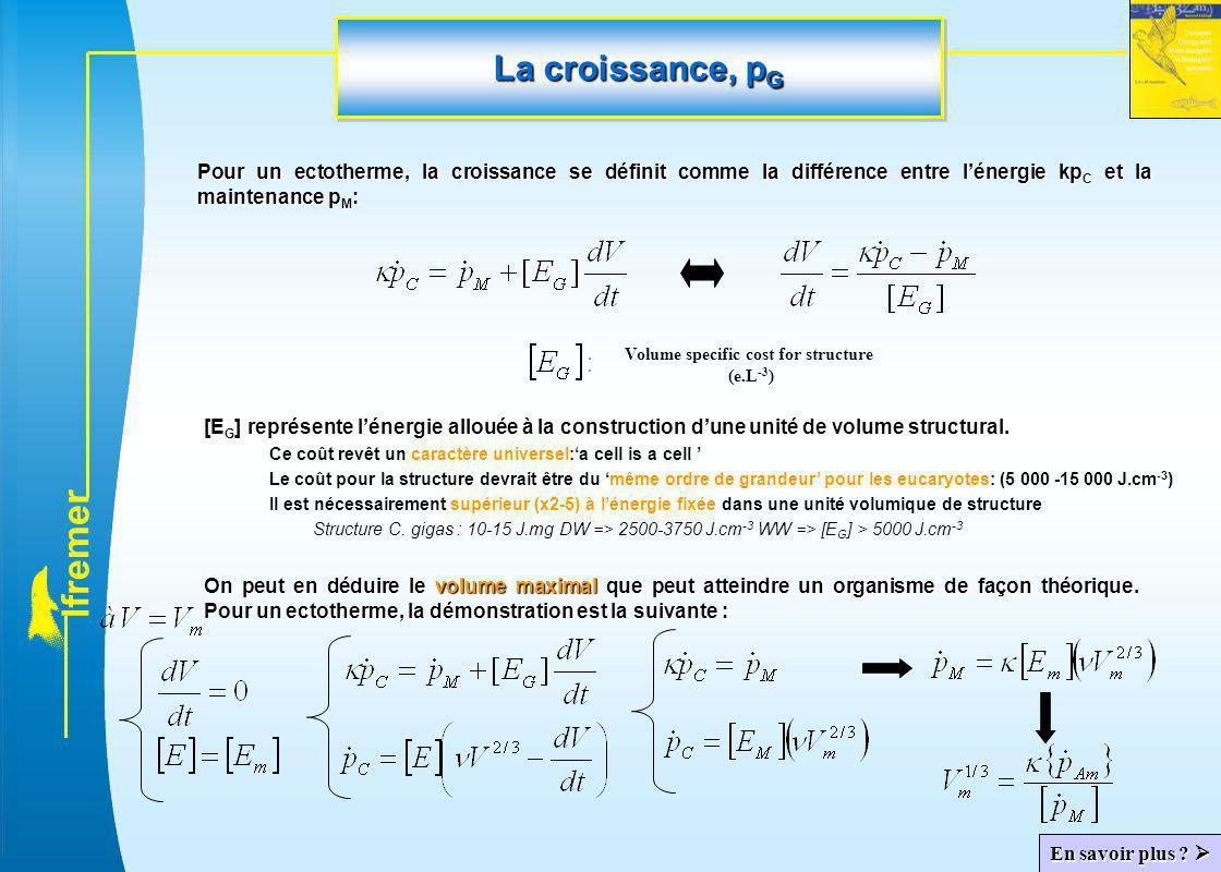 l f r e m e r La croissance, p G Pour un ectotherme, la croissance se définit comme la différence entre l'énergie kp C et la maintenance p M : Volume