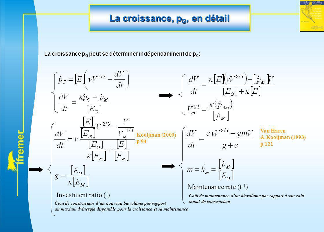 l f r e m e r La croissance, p G, en détail La croissance p G peut se déterminer indépendamment de p C : Maintenance rate (t -1 ) Investment ratio (.)