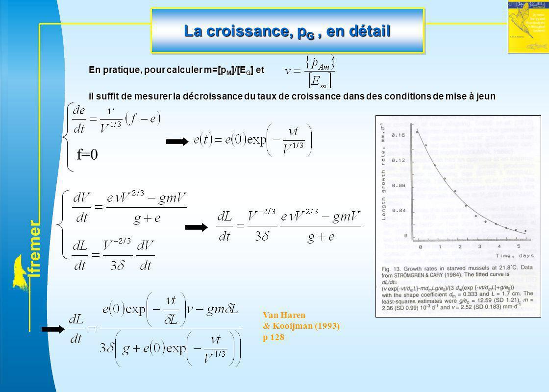 l f r e m e r La croissance, p G, en détail En pratique, pour calculer m=[p M ]/[E G ] et il suffit de mesurer la décroissance du taux de croissance d