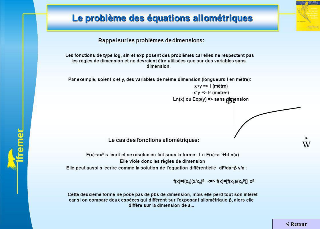 l f r e m e r Le problème des équations allométriques Rappel sur les problèmes de dimensions: Les fonctions de type log, sin et exp posent des problèm