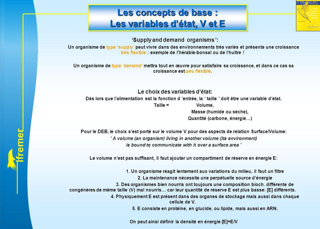 l f r e m e r Les concepts de base : Les variables d'état, V et E 'Supply and demand organisms ': Un organisme de type 'supply' peut vivre dans des en