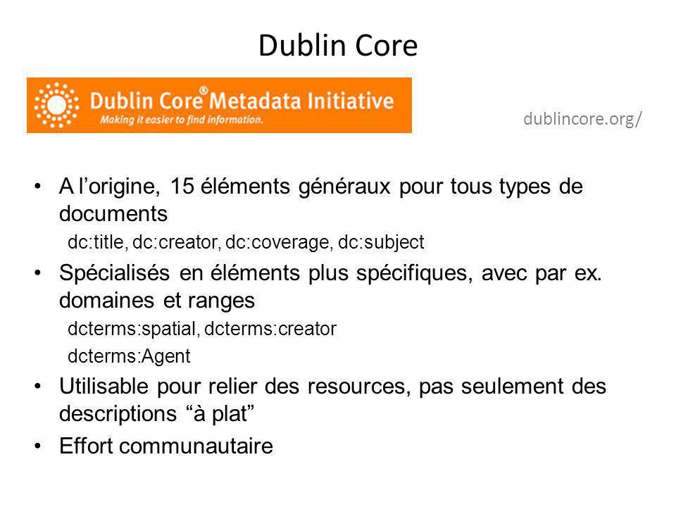 Dublin Core DCMI Metadata Terms A l'origine, 15 éléments généraux pour tous types de documents dc:title, dc:creator, dc:coverage, dc:subject Spécialis