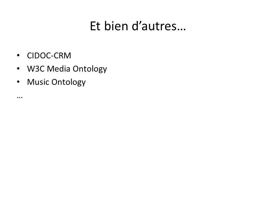 Et bien d'autres… CIDOC-CRM W3C Media Ontology Music Ontology …