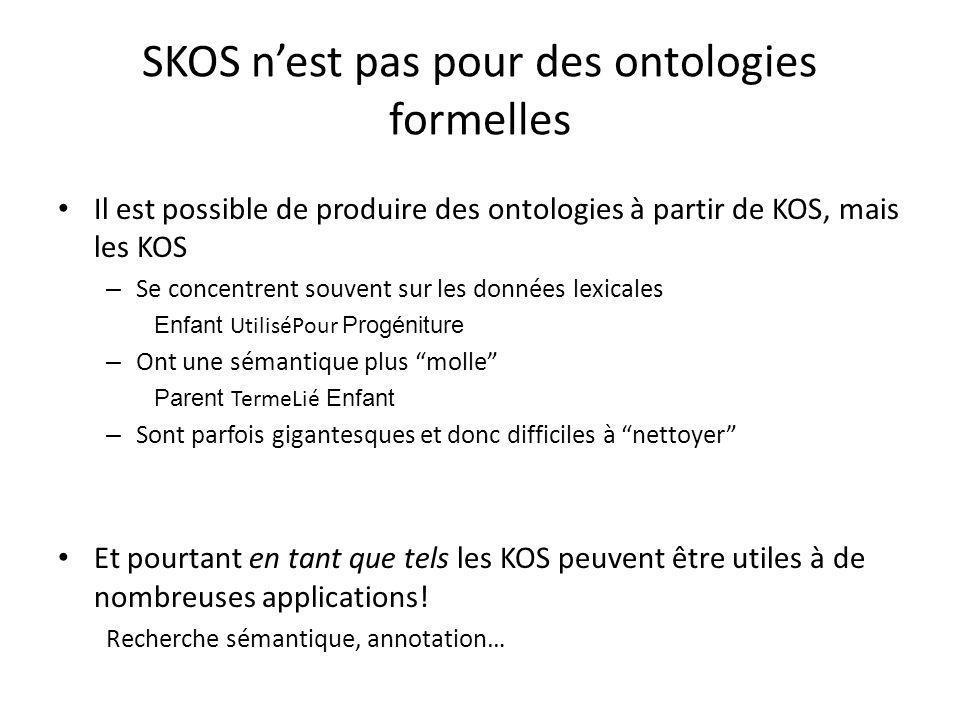 SKOS n'est pas pour des ontologies formelles Il est possible de produire des ontologies à partir de KOS, mais les KOS – Se concentrent souvent sur les