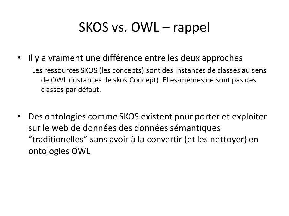 SKOS vs. OWL – rappel Il y a vraiment une différence entre les deux approches Les ressources SKOS (les concepts) sont des instances de classes au sens