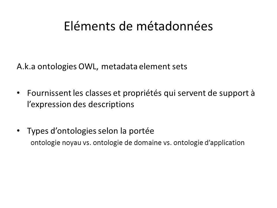 Eléments de métadonnées A.k.a ontologies OWL, metadata element sets Fournissent les classes et propriétés qui servent de support à l'expression des de