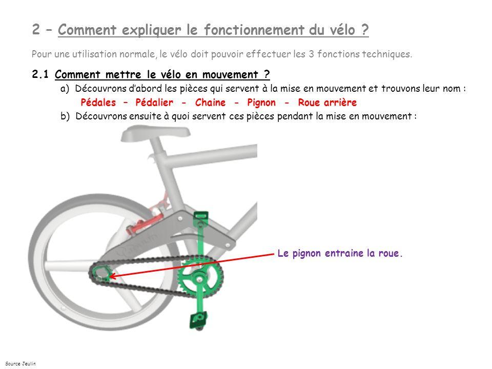 2 – Comment expliquer le fonctionnement du vélo .